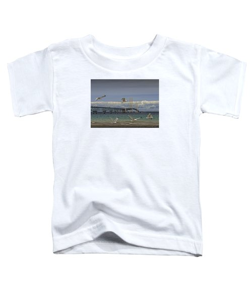 Gulls Flying By The Bridge At The Straits Of Mackinac Toddler T-Shirt