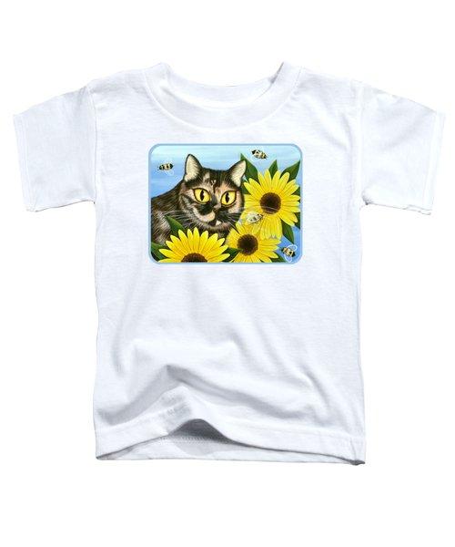 Hannah Tortoiseshell Cat Sunflowers Toddler T-Shirt