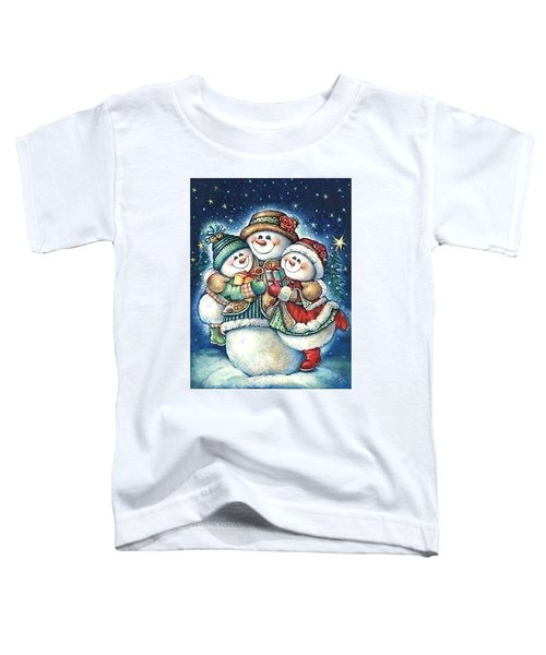 Happy Snowman Family With Gifts Toddler T-Shirt