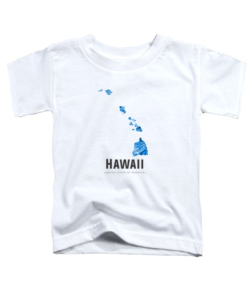 Hawaii Map Art Abstract In Blue Toddler T-Shirt