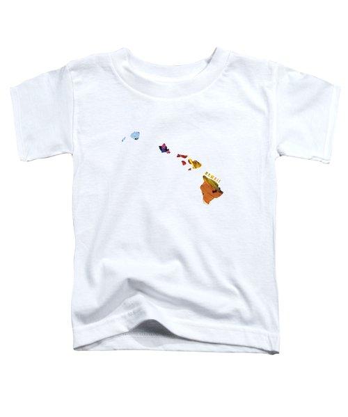 Hawaii Map Art - Painted Map Of Hawaii Toddler T-Shirt