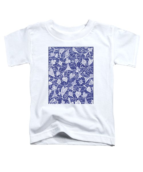 Hearts, Spades, Diamonds And Clubs In Blue Toddler T-Shirt