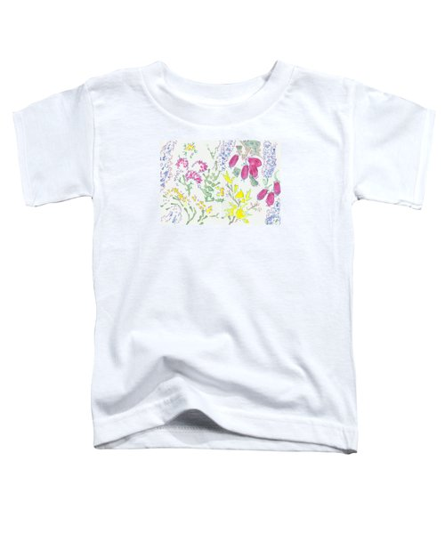 Heather And Gorse Watercolor Illustration Pattern Toddler T-Shirt