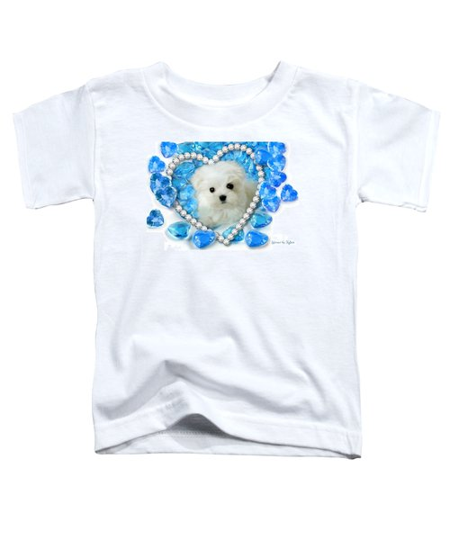 Hermes The Maltese And Blue Hearts Toddler T-Shirt