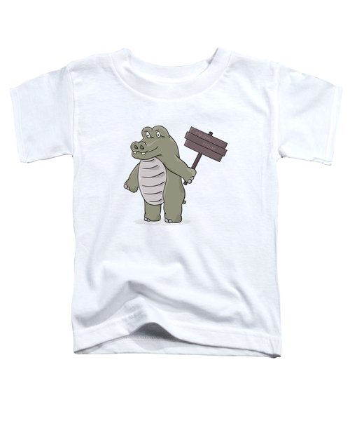 Hippopotamus With Happy Hour Sign Toddler T-Shirt