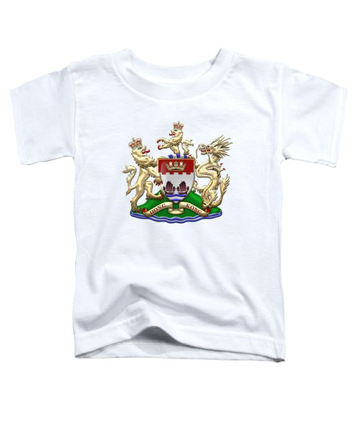Hong Kong - 1959-1997 Coat Of Arms Over White Leather  Toddler T-Shirt by Serge Averbukh