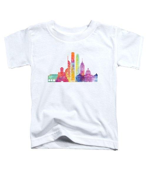Hong Kong Landmarks Watercolor Poster Toddler T-Shirt