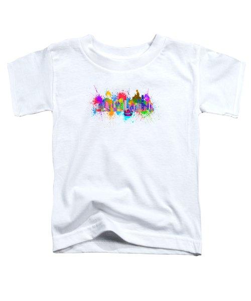 Hong Kong Skyline Paint Splatter Illustration Toddler T-Shirt