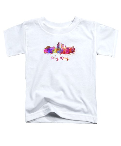 Hong Kong V2 Skyline In Watercolor Toddler T-Shirt by Pablo Romero
