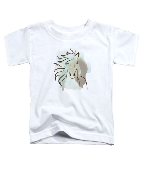 Horse Wall Art - Elegant Bright Pastel Color Animals Toddler T-Shirt by Wall Art Prints