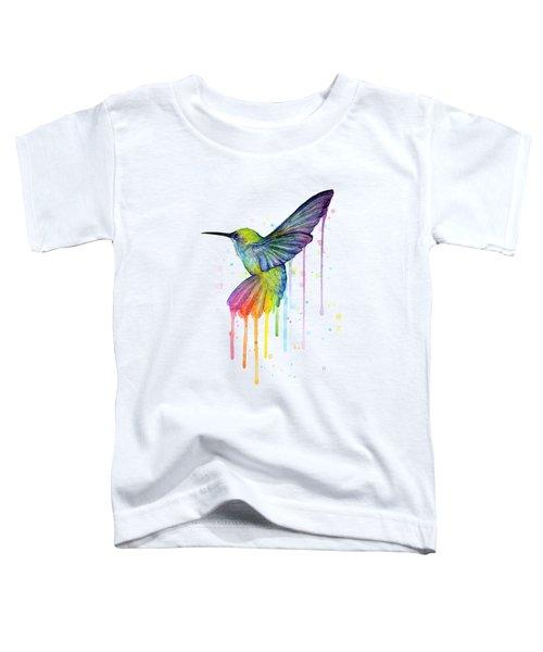 Hummingbird Of Watercolor Rainbow Toddler T-Shirt