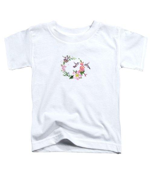 Hummingbird Wreath In Watercolor Toddler T-Shirt