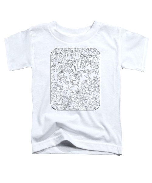 Hummingbirds And Flowers Coloring Page Toddler T-Shirt