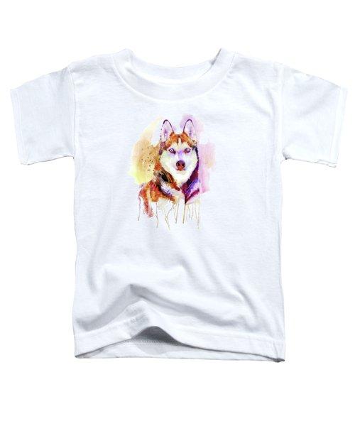 Husky Dog Watercolor Portrait Toddler T-Shirt