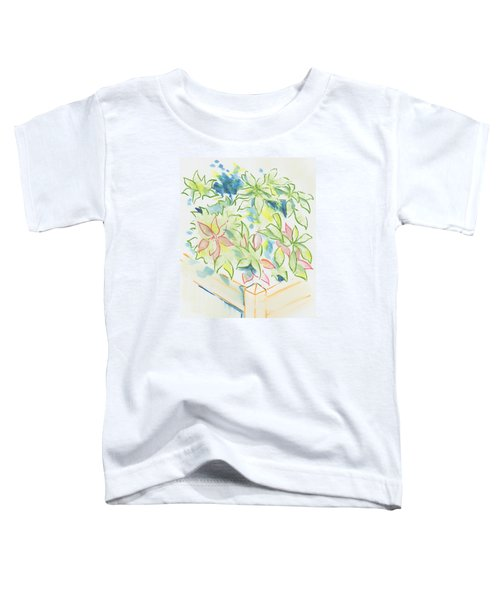 Hydrangea Plant Growing Out Of A Square Wooden Planter Toddler T-Shirt