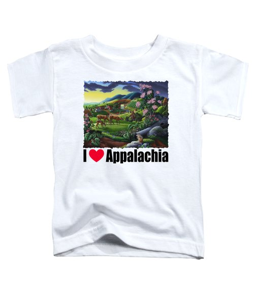 I Love Appalachia T Shirt - Deer Chipmunk High Meadow Appalachian Landscape Toddler T-Shirt