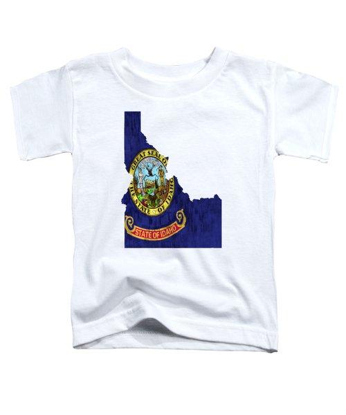 Idaho Map Art With Flag Design Toddler T-Shirt