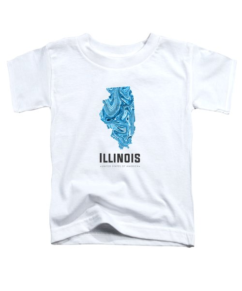 Illinois Map Art Abstract In Blue Toddler T-Shirt