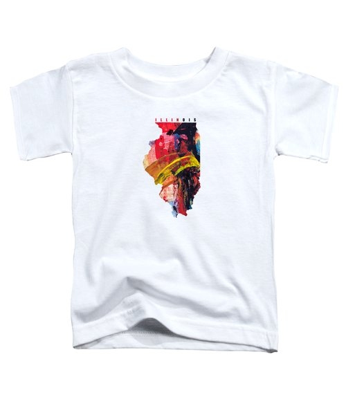Illinois Map Art - Painted Map Of Illinois Toddler T-Shirt
