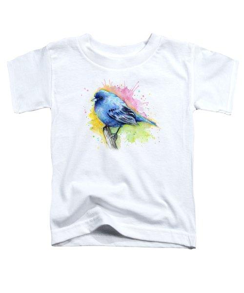 Indigo Bunting Blue Bird Watercolor Toddler T-Shirt by Olga Shvartsur