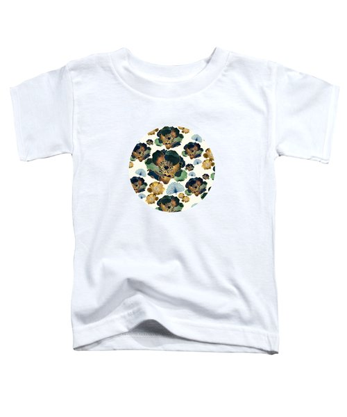 Indigo Flowers And Peacocks Toddler T-Shirt