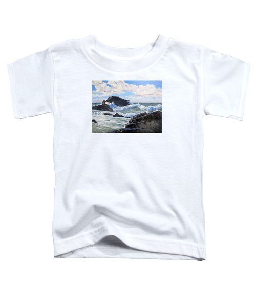 Toddler T-Shirt featuring the painting Indomitable Rock by Lawrence Dyer