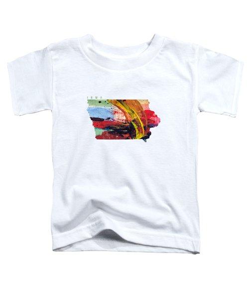 Iowa Map Art - Painted Map Of Iowa Toddler T-Shirt