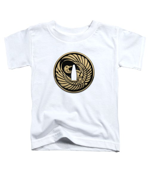 Japanese Katana Tsuba - Golden Crane On Black Steel Over White Leather Toddler T-Shirt