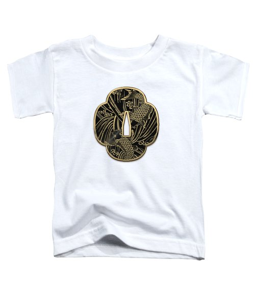 Japanese Katana Tsuba - Golden Twin Koi On Black Steel Over White Leather Toddler T-Shirt