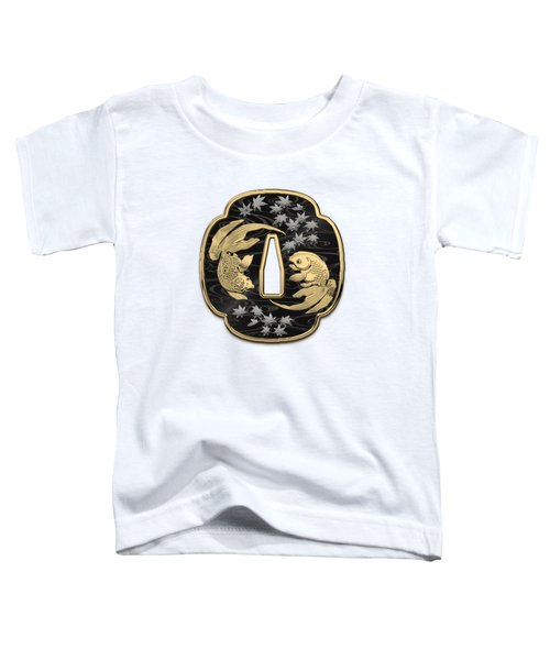 Japanese Katana Tsuba - Twin Gold Fish On Black Steel Over White Leather Toddler T-Shirt