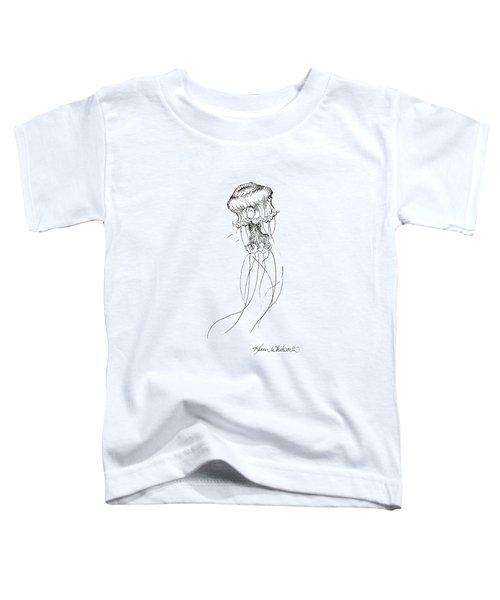 Jellyfish Sketch - Black And White Nautical Theme Decor Toddler T-Shirt