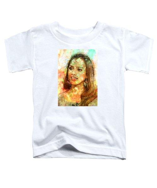Jessica Alba Toddler T-Shirt by Elena Kosvincheva
