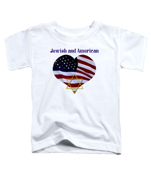 Jewish And American Flag With Star Of David Toddler T-Shirt