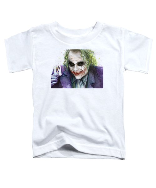 Joker Watercolor Portrait Toddler T-Shirt by Olga Shvartsur