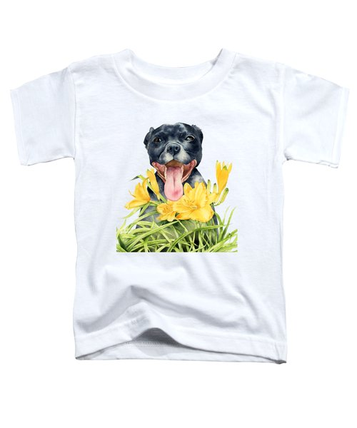 Joy - Pit Bull Dog And Daylily Watercolor Painting Toddler T-Shirt