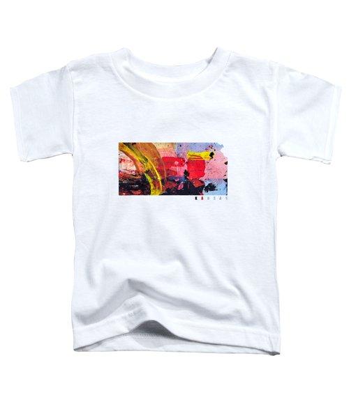 Kansas Map Art - Painted Map Of Kansas Toddler T-Shirt