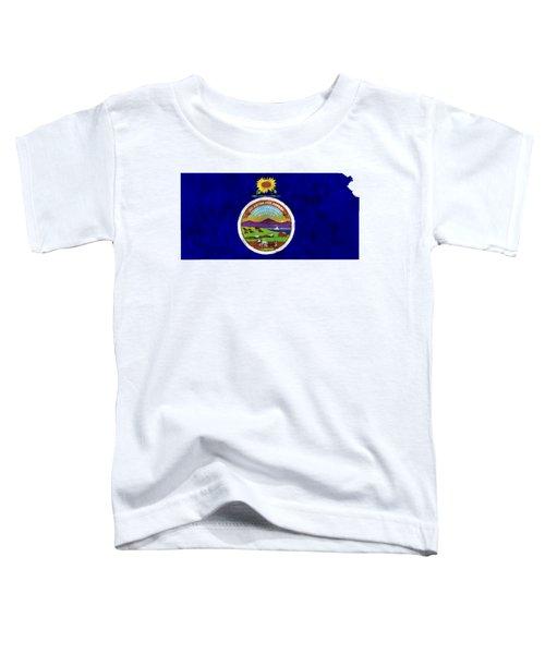 Kansas Map Art With Flag Design Toddler T-Shirt