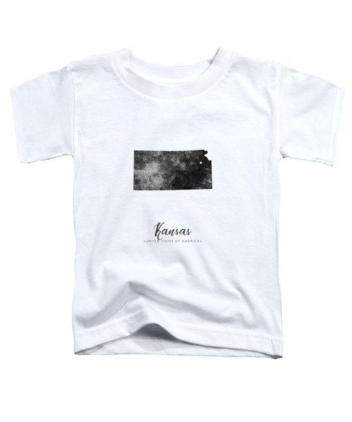 Kansas State Map Art - Grunge Silhouette Toddler T-Shirt
