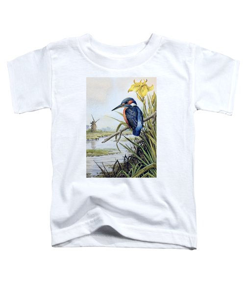 Kingfisher With Flag Iris And Windmill Toddler T-Shirt by Carl Donner