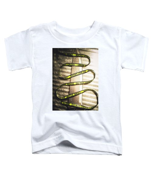 Knife With Crime Scene Ribbon On Metal Surface Toddler T-Shirt