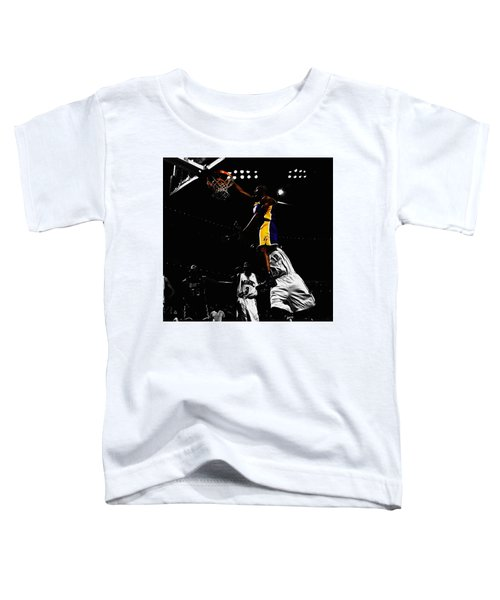 Kobe Bryant On Top Of Dwight Howard Toddler T-Shirt by Brian Reaves