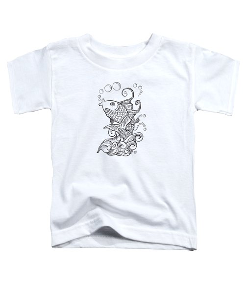Koi Fish And Water Waves Toddler T-Shirt by Laura Ostrowski