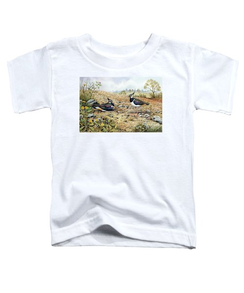 Lapwing Family With Goldfinches Toddler T-Shirt by Carl Donner