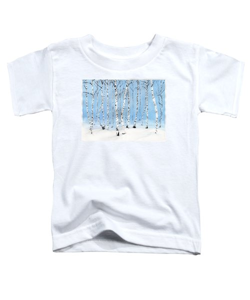 Late Afternoon Snowstorm In The Forest Toddler T-Shirt