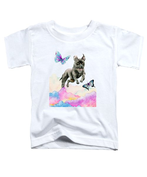 Leap - Pit Bull Dog, Rainbow Clouds, And Butterflies Toddler T-Shirt