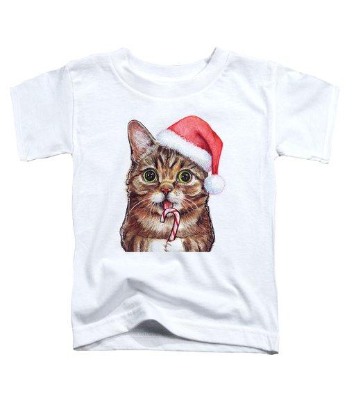 Lil Bub Cat In Santa Hat Toddler T-Shirt by Olga Shvartsur