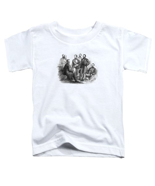 Lincoln And His Generals Black And White Toddler T-Shirt