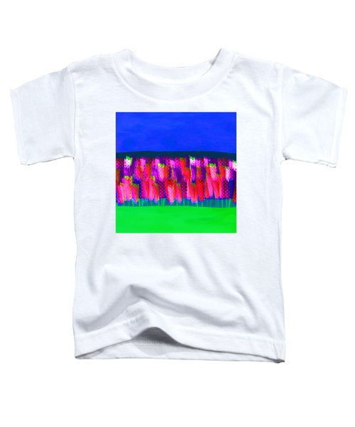 Lisse - Tulips Pink On Blue Toddler T-Shirt