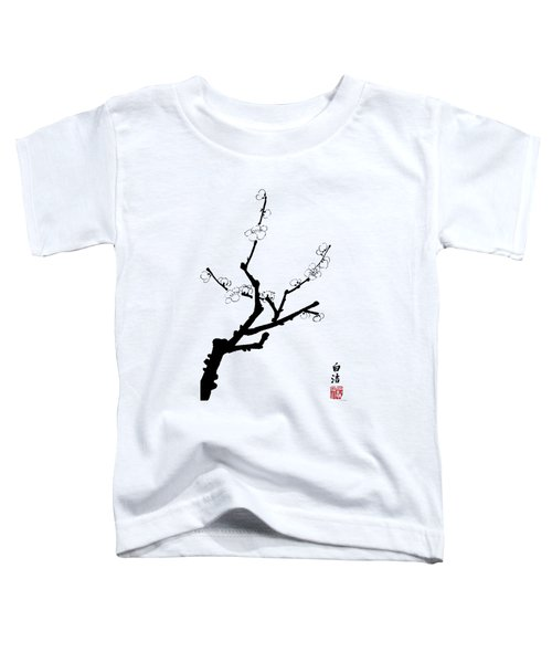 Little Plum Blossom Twig - Bw Toddler T-Shirt
