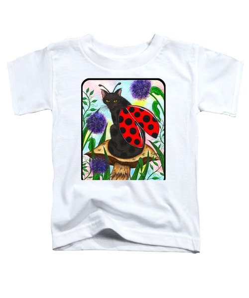 Logan Ladybug Fairy Cat Toddler T-Shirt by Carrie Hawks